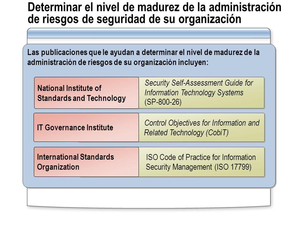 Determinar el nivel de madurez de la administración de riesgos de seguridad de su organización Las publicaciones que le ayudan a determinar el nivel d