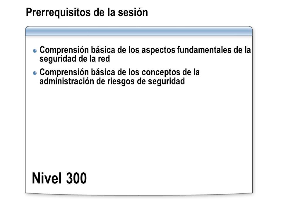 Prerrequisitos de la sesión Comprensión básica de los aspectos fundamentales de la seguridad de la red Comprensión básica de los conceptos de la admin