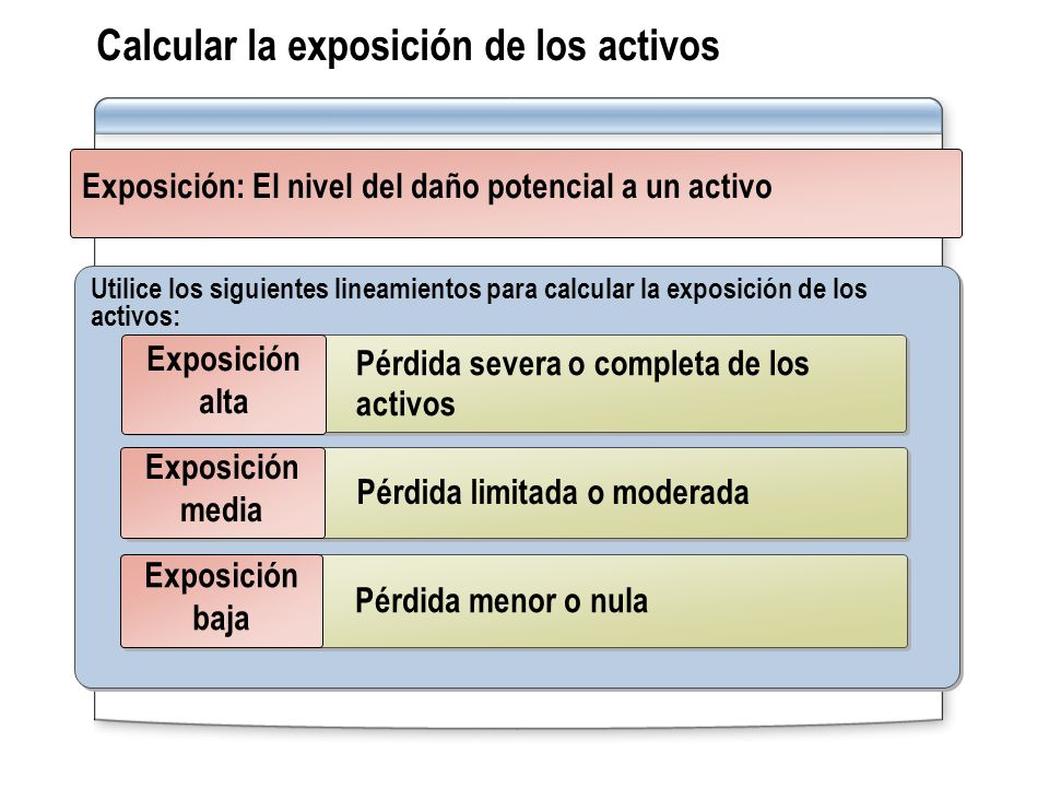 Calcular la exposición de los activos Utilice los siguientes lineamientos para calcular la exposición de los activos: Pérdida menor o nula Exposición