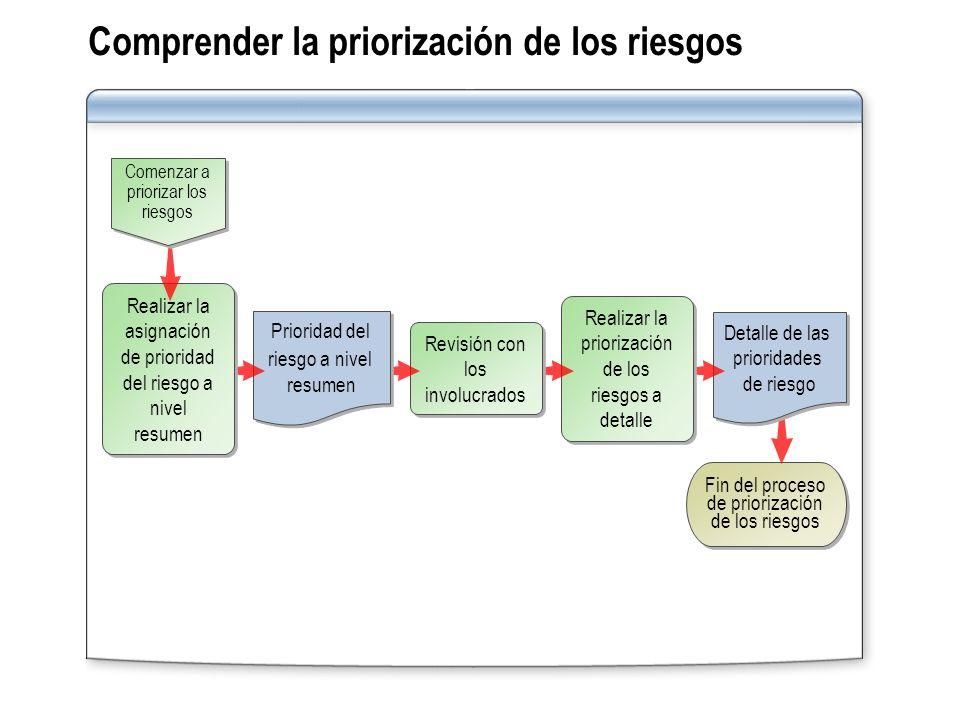 Comprender la priorización de los riesgos Fin del proceso de priorización de los riesgos Detalle de las prioridades de riesgo Realizar la priorización