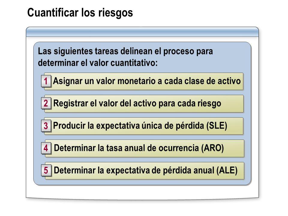 Cuantificar los riesgos Las siguientes tareas delinean el proceso para determinar el valor cuantitativo: Registrar el valor del activo para cada riesg