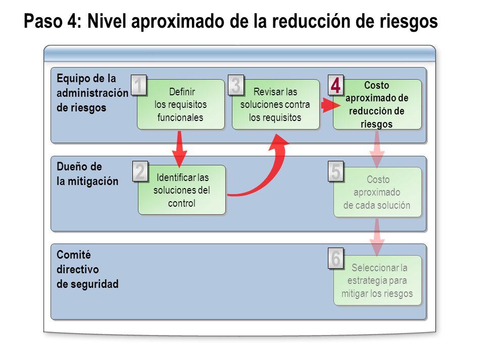 Paso 4: Nivel aproximado de la reducción de riesgos Equipo de la administración de riesgos Equipo de la administración de riesgos Comité directivo de