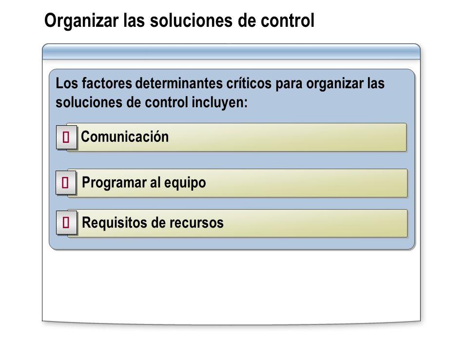 Organizar las soluciones de control Los factores determinantes críticos para organizar las soluciones de control incluyen: Comunicación Programar al e