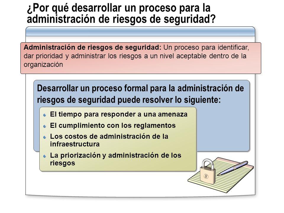 ¿Por qué desarrollar un proceso para la administración de riesgos de seguridad? Desarrollar un proceso formal para la administración de riesgos de seg