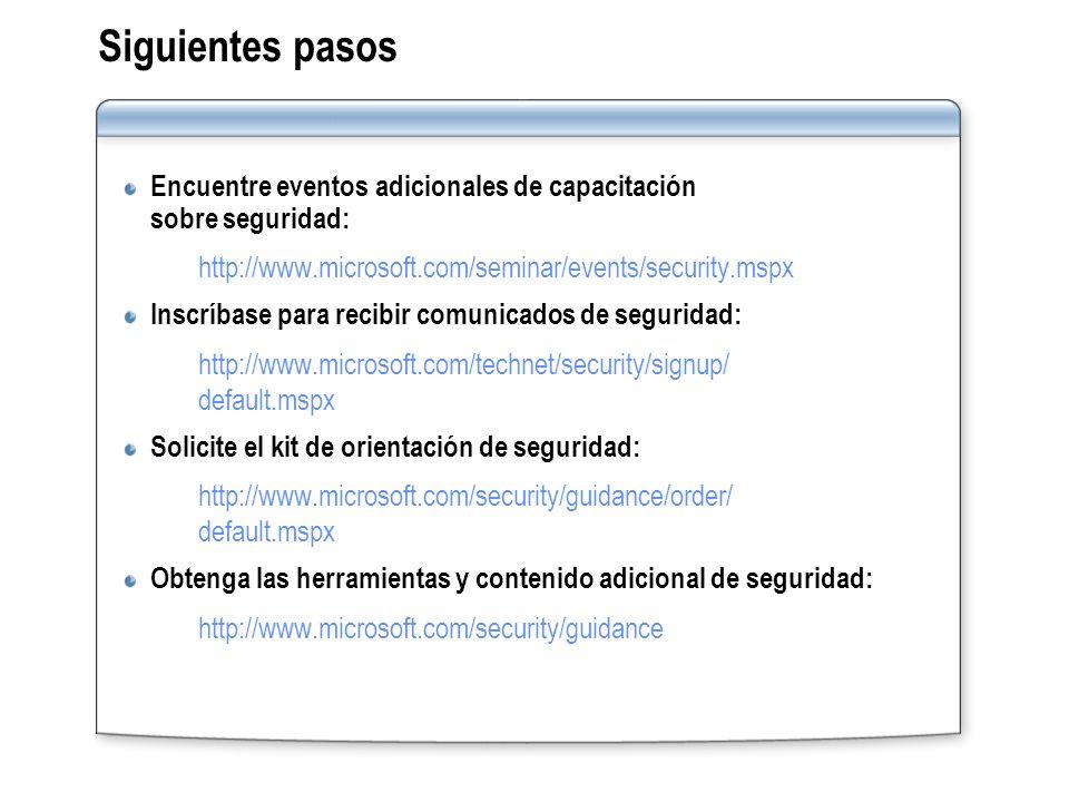 Siguientes pasos Encuentre eventos adicionales de capacitación sobre seguridad: http://www.microsoft.com/seminar/events/security.mspx Inscríbase para
