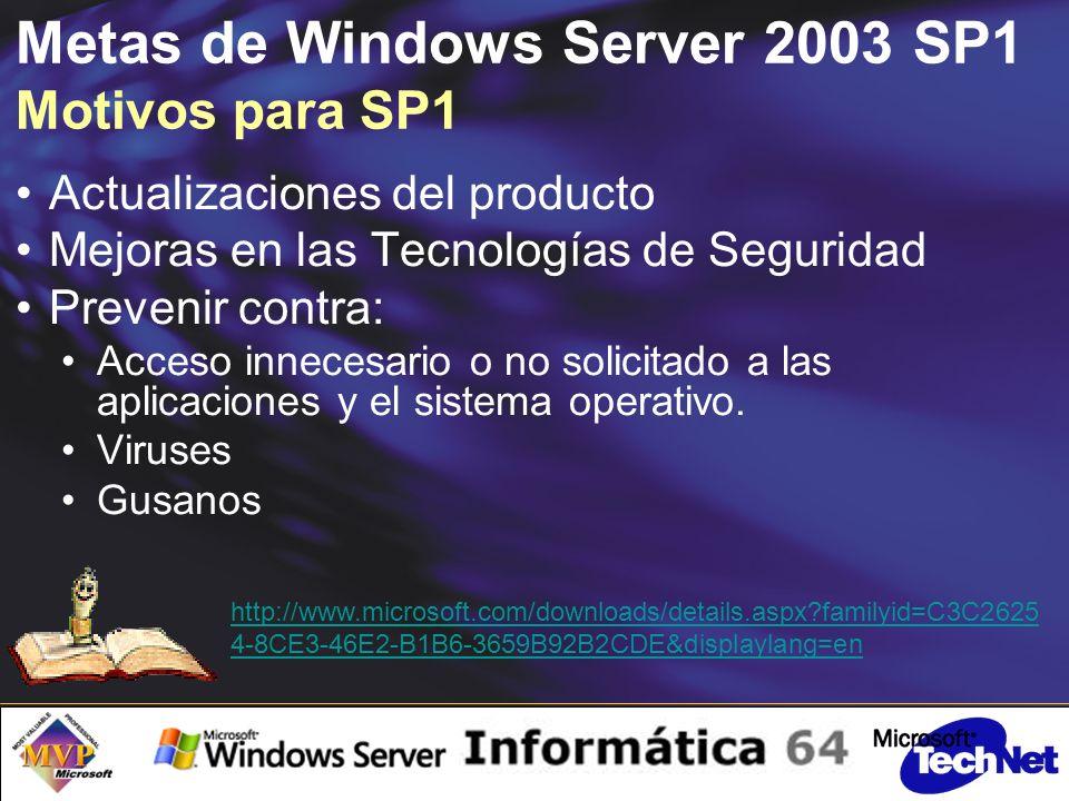Metas de Windows Server 2003 SP1 Motivos para SP1 Actualizaciones del producto Mejoras en las Tecnologías de Seguridad Prevenir contra: Acceso innecesario o no solicitado a las aplicaciones y el sistema operativo.
