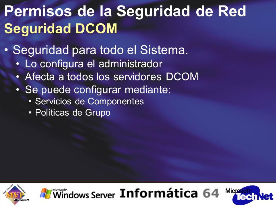 Permisos de la Seguridad de Red Seguridad DCOM Seguridad para todo el Sistema.