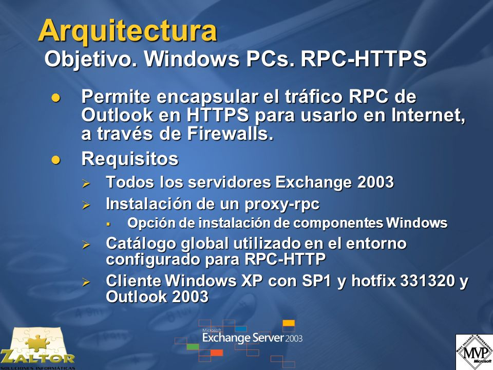 Arquitectura Objetivo. Windows PCs. RPC-HTTPS Permite encapsular el tráfico RPC de Outlook en HTTPS para usarlo en Internet, a través de Firewalls. Pe