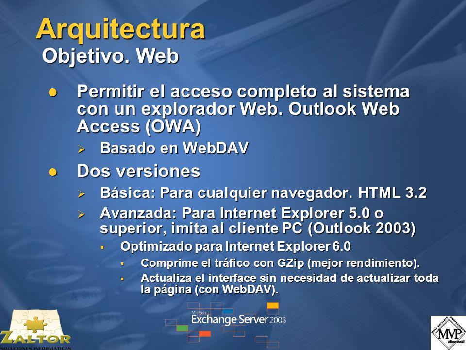 Arquitectura Objetivo. Web Permitir el acceso completo al sistema con un explorador Web. Outlook Web Access (OWA) Permitir el acceso completo al siste
