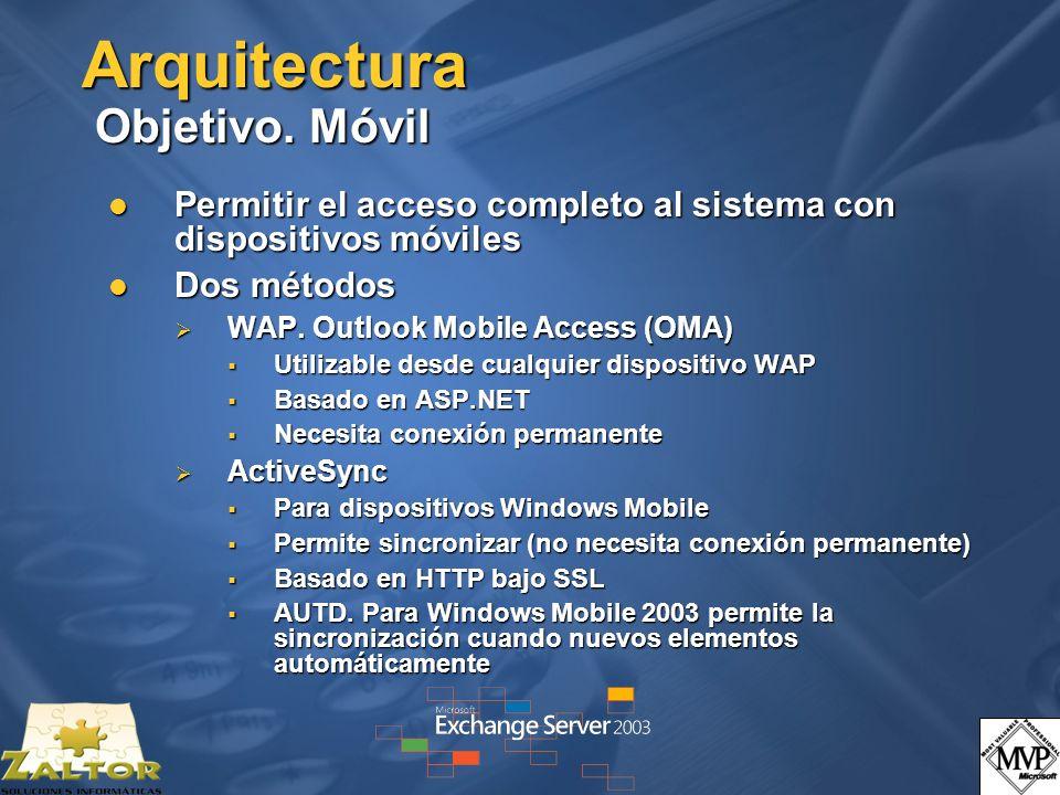 Arquitectura Objetivo. Móvil Permitir el acceso completo al sistema con dispositivos móviles Permitir el acceso completo al sistema con dispositivos m