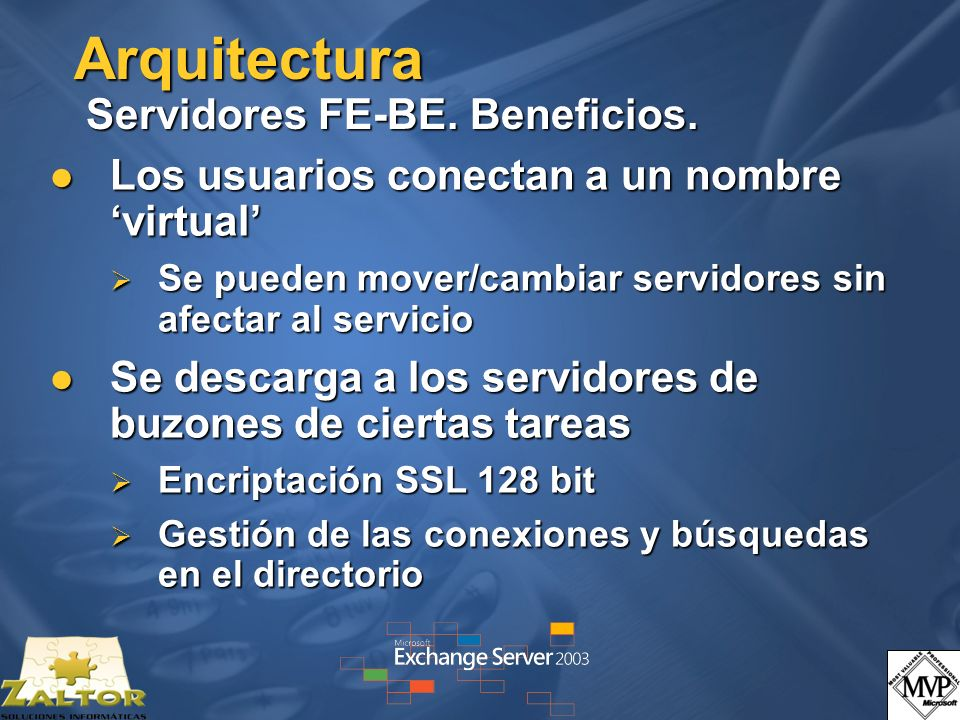 Arquitectura Servidores FE-BE. Beneficios. Los usuarios conectan a un nombre virtual Los usuarios conectan a un nombre virtual Se pueden mover/cambiar