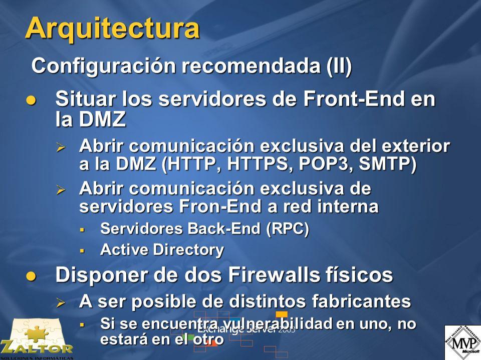 Arquitectura Configuración recomendada (II) Situar los servidores de Front-End en la DMZ Situar los servidores de Front-End en la DMZ Abrir comunicación exclusiva del exterior a la DMZ (HTTP, HTTPS, POP3, SMTP) Abrir comunicación exclusiva del exterior a la DMZ (HTTP, HTTPS, POP3, SMTP) Abrir comunicación exclusiva de servidores Fron-End a red interna Abrir comunicación exclusiva de servidores Fron-End a red interna Servidores Back-End (RPC) Servidores Back-End (RPC) Active Directory Active Directory Disponer de dos Firewalls físicos Disponer de dos Firewalls físicos A ser posible de distintos fabricantes A ser posible de distintos fabricantes Si se encuentra vulnerabilidad en uno, no estará en el otro Si se encuentra vulnerabilidad en uno, no estará en el otro