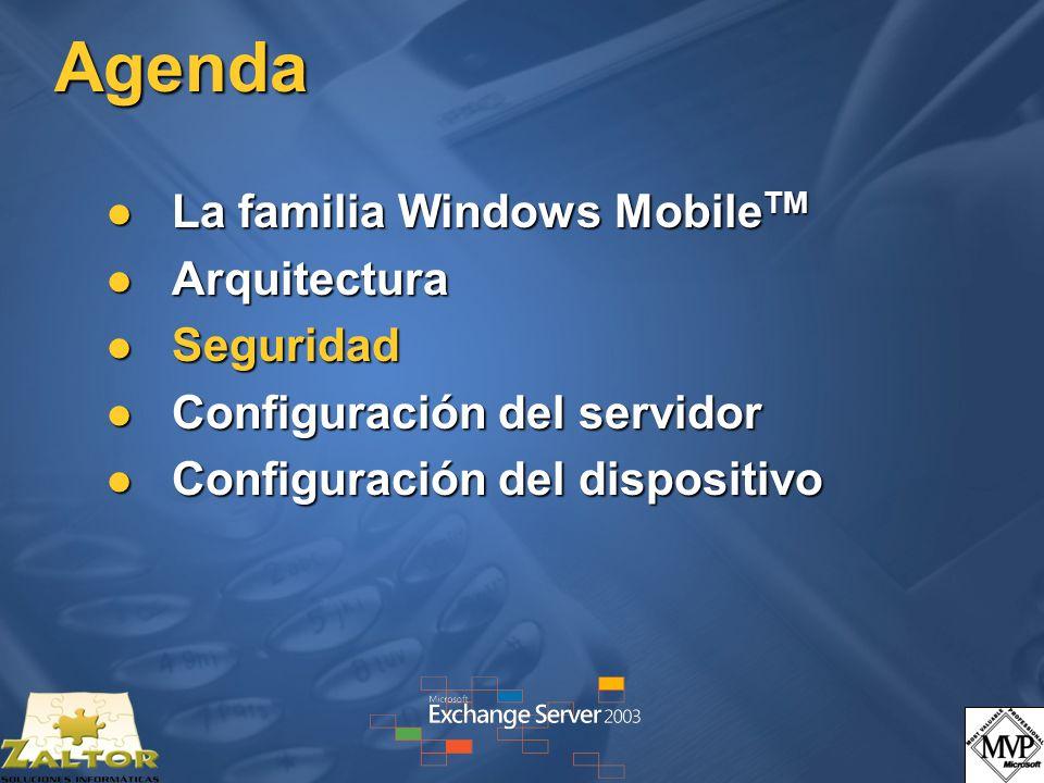 Agenda La familia Windows Mobile TM La familia Windows Mobile TM Arquitectura Arquitectura Seguridad Seguridad Configuración del servidor Configuració
