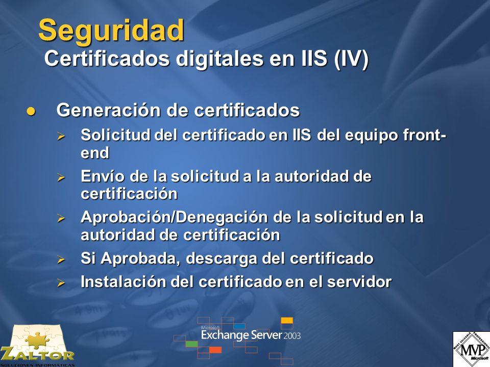 Seguridad Certificados digitales en IIS (IV) Generación de certificados Generación de certificados Solicitud del certificado en IIS del equipo front- end Solicitud del certificado en IIS del equipo front- end Envío de la solicitud a la autoridad de certificación Envío de la solicitud a la autoridad de certificación Aprobación/Denegación de la solicitud en la autoridad de certificación Aprobación/Denegación de la solicitud en la autoridad de certificación Si Aprobada, descarga del certificado Si Aprobada, descarga del certificado Instalación del certificado en el servidor Instalación del certificado en el servidor