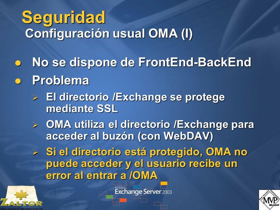 Seguridad Configuración usual OMA (I) No se dispone de FrontEnd-BackEnd No se dispone de FrontEnd-BackEnd Problema Problema El directorio /Exchange se protege mediante SSL El directorio /Exchange se protege mediante SSL OMA utiliza el directorio /Exchange para acceder al buzón (con WebDAV) OMA utiliza el directorio /Exchange para acceder al buzón (con WebDAV) Si el directorio está protegido, OMA no puede acceder y el usuario recibe un error al entrar a /OMA Si el directorio está protegido, OMA no puede acceder y el usuario recibe un error al entrar a /OMA
