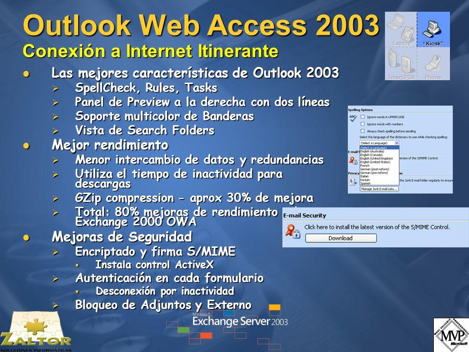 Outlook Web Access 2003 Conexión a Internet Itinerante Las mejores características de Outlook 2003 Las mejores características de Outlook 2003 SpellCh
