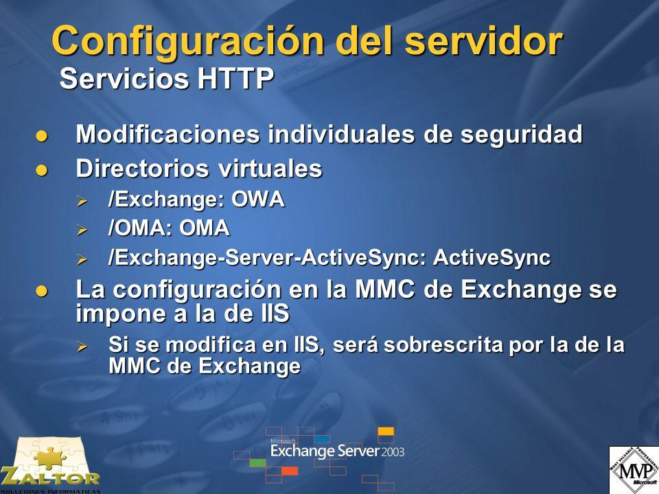 Configuración del servidor Servicios HTTP Modificaciones individuales de seguridad Modificaciones individuales de seguridad Directorios virtuales Dire
