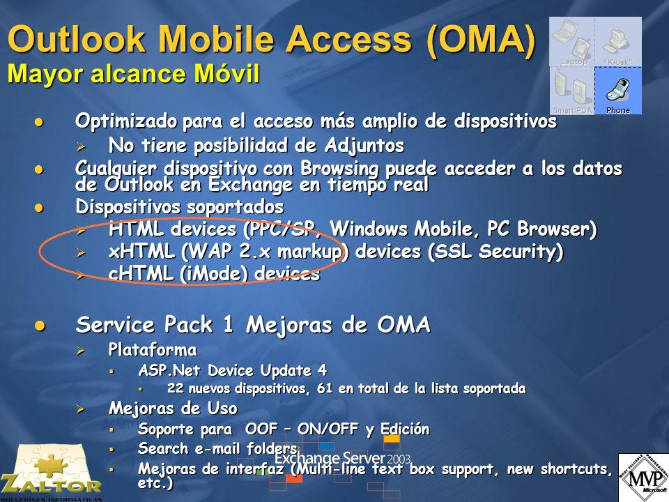 Outlook Mobile Access (OMA) Mayor alcance Móvil Optimizado para el acceso más amplio de dispositivos Optimizado para el acceso más amplio de dispositi