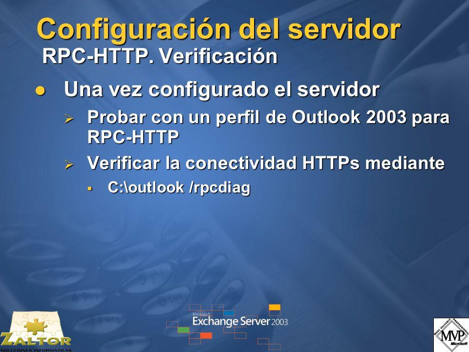 Configuración del servidor RPC-HTTP. Verificación Una vez configurado el servidor Una vez configurado el servidor Probar con un perfil de Outlook 2003