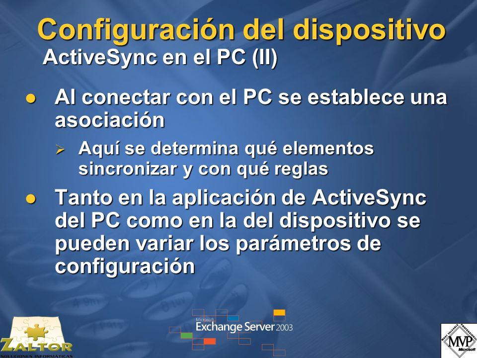Configuración del dispositivo ActiveSync en el PC (II) Al conectar con el PC se establece una asociación Al conectar con el PC se establece una asocia
