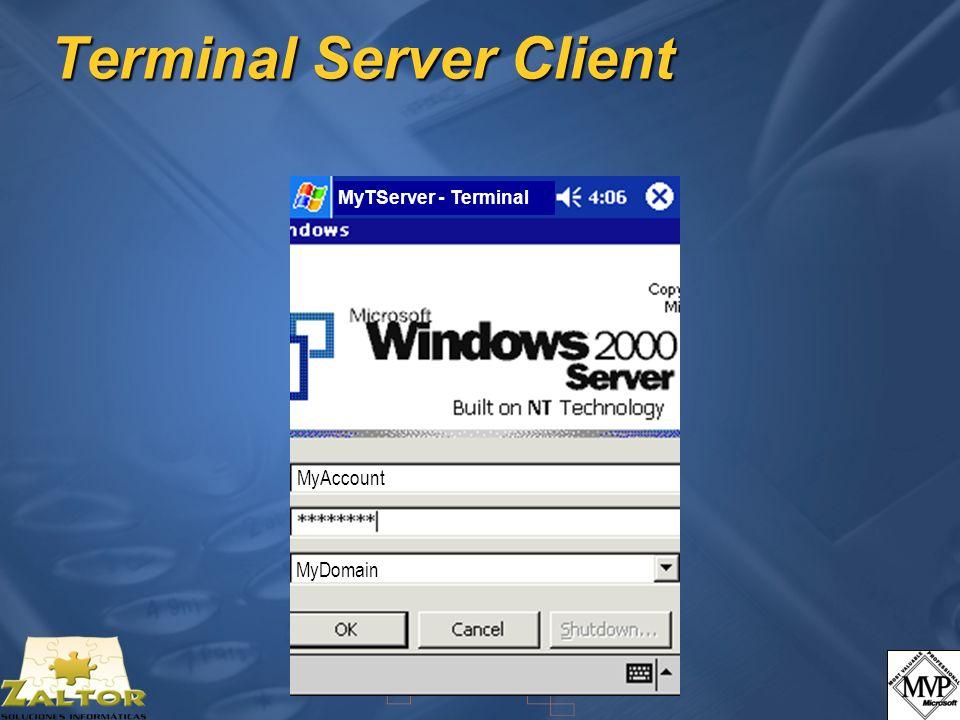 MyTServer - Terminal off MyAccount MyTServer MyTServer - Terminal MyAccount MyDomain Terminal Server Client
