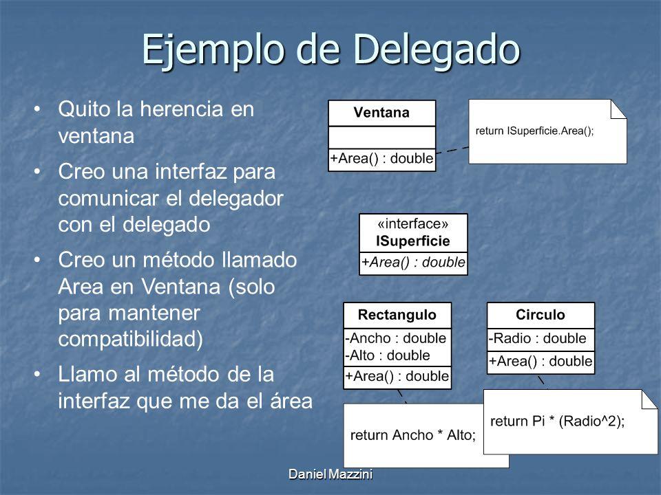 Daniel Mazzini Ejemplo de Delegado Quito la herencia en ventana Creo una interfaz para comunicar el delegador con el delegado Creo un método llamado Area en Ventana (solo para mantener compatibilidad) Llamo al método de la interfaz que me da el área