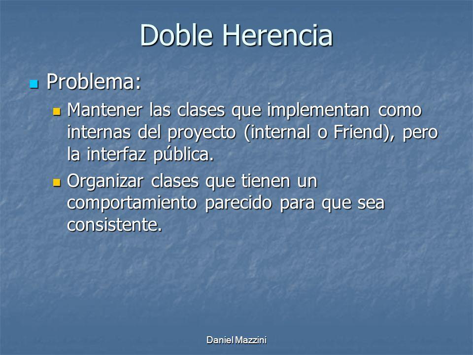 Daniel Mazzini Doble Herencia Problema: Problema: Mantener las clases que implementan como internas del proyecto (internal o Friend), pero la interfaz pública.