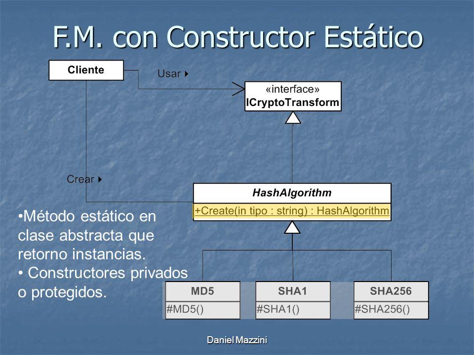 F.M.con Constructor Estático Método estático en clase abstracta que retorno instancias.