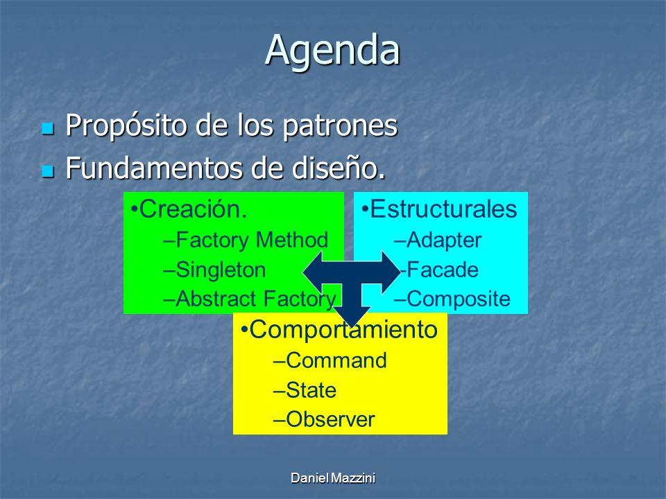 Daniel Mazzini Agenda Propósito de los patrones Propósito de los patrones Fundamentos de diseño.