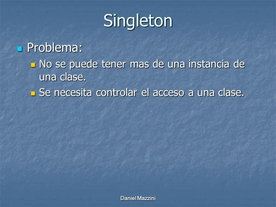 Singleton Problema: Problema: No se puede tener mas de una instancia de una clase.