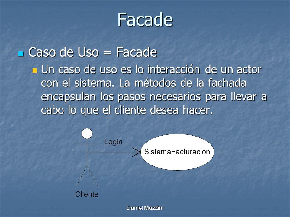 Daniel Mazzini Facade Caso de Uso = Facade Caso de Uso = Facade Un caso de uso es lo interacción de un actor con el sistema.