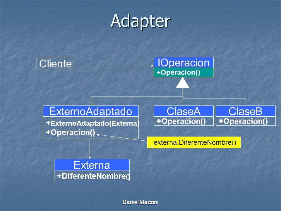 Daniel Mazzini Adapter Cliente IOperacion +Operacion() Externa +DiferenteNombre () ClaseA +Operacion() ClaseB +Operacion() ExternoAdaptado + ExternoAdaptado(Externa) +Operacion() _externa.DiferenteNombre()