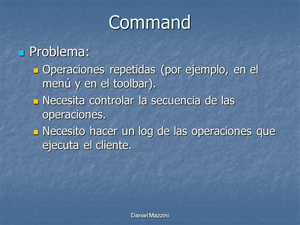 Daniel Mazzini Command Problema: Problema: Operaciones repetidas (por ejemplo, en el menú y en el toolbar).