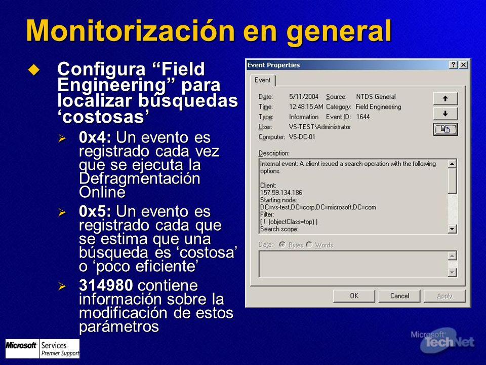 Monitorización en general Configura Field Engineering para localizar búsquedas costosas Configura Field Engineering para localizar búsquedas costosas