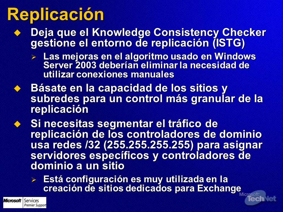 Replicación Deja que el Knowledge Consistency Checker gestione el entorno de replicación (ISTG) Deja que el Knowledge Consistency Checker gestione el