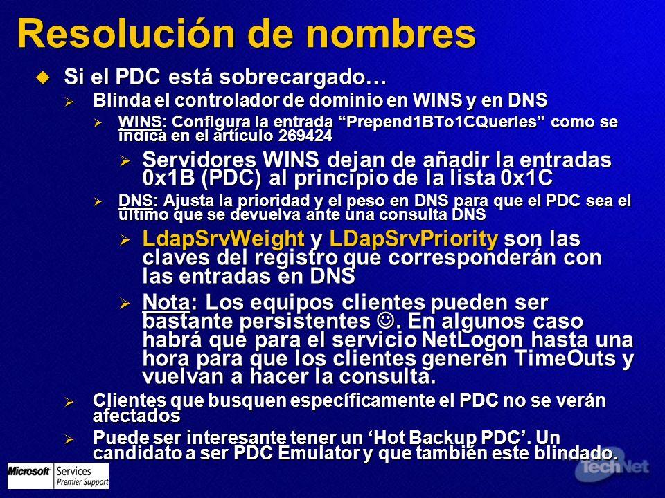 Resolución de nombres Si el PDC está sobrecargado… Si el PDC está sobrecargado… Blinda el controlador de dominio en WINS y en DNS Blinda el controlado