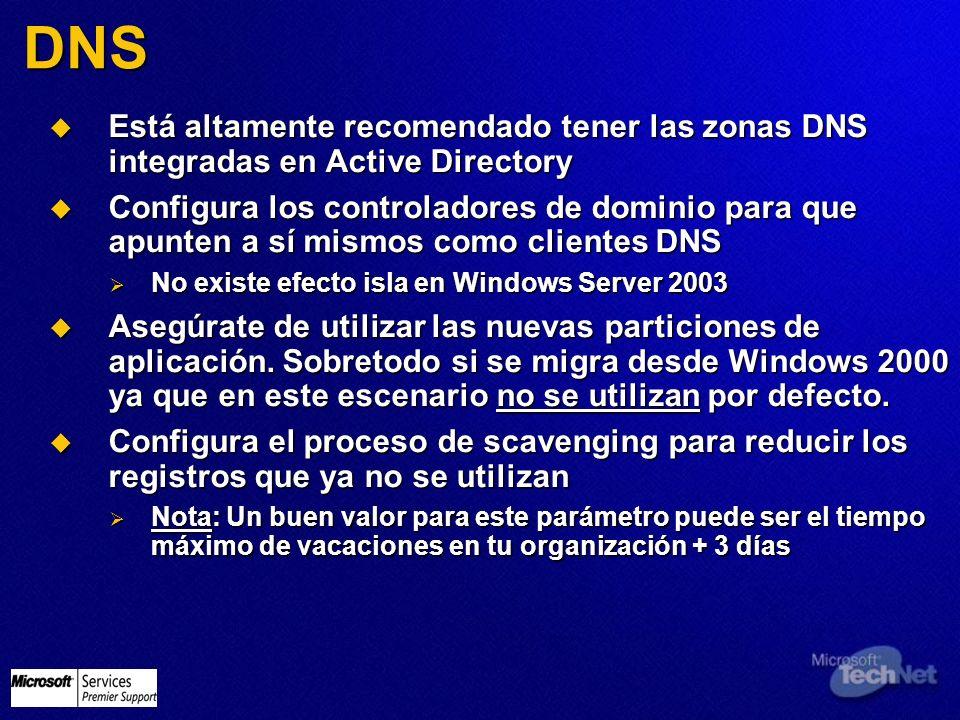 DNS Está altamente recomendado tener las zonas DNS integradas en Active Directory Está altamente recomendado tener las zonas DNS integradas en Active