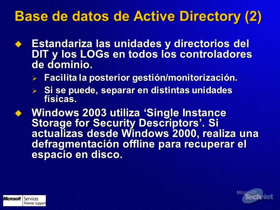 Base de datos de Active Directory (2) Estandariza las unidades y directorios del DIT y los LOGs en todos los controladores de dominio. Estandariza las