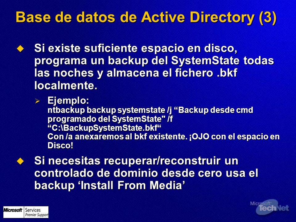 Base de datos de Active Directory (3) Si existe suficiente espacio en disco, programa un backup del SystemState todas las noches y almacena el fichero