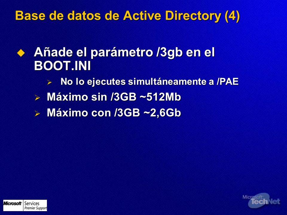 Base de datos de Active Directory (4) Añade el parámetro /3gb en el BOOT.INI Añade el parámetro /3gb en el BOOT.INI No lo ejecutes simultáneamente a /