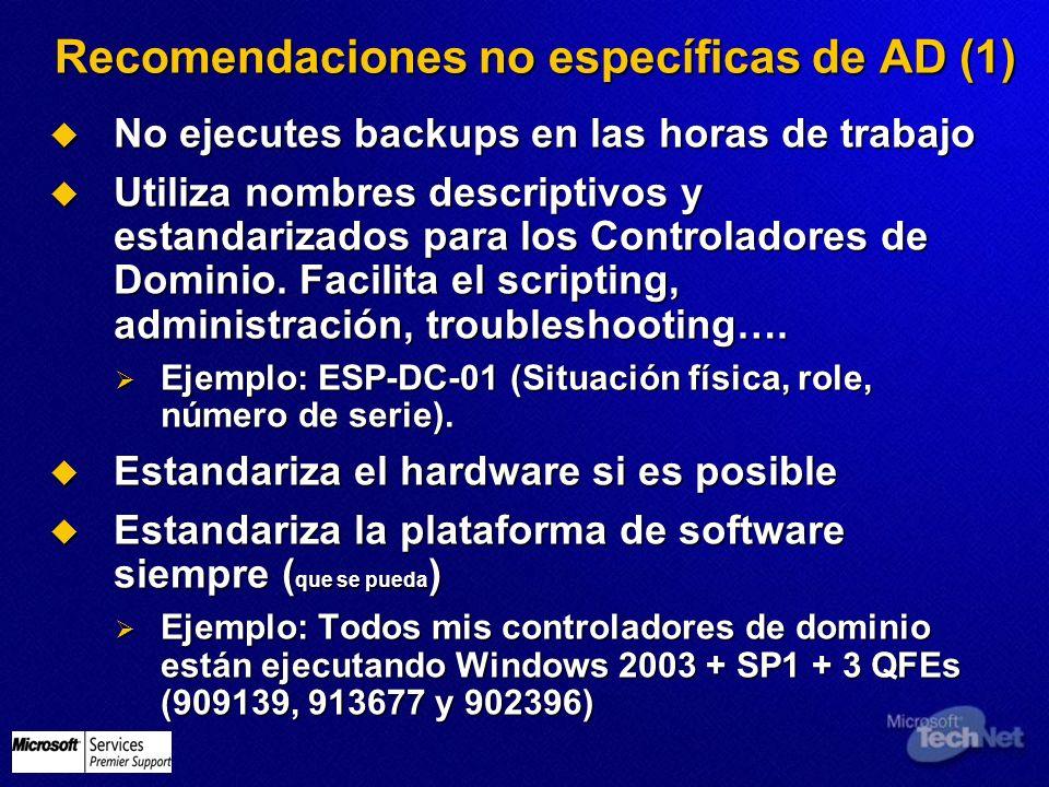 Recomendaciones no específicas de AD (1) No ejecutes backups en las horas de trabajo No ejecutes backups en las horas de trabajo Utiliza nombres descr