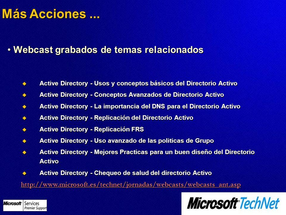 Webcast grabados de temas relacionados Webcast grabados de temas relacionados http://www.microsoft.es/technet/jornadas/webcasts/webcasts_ant.asp Activ
