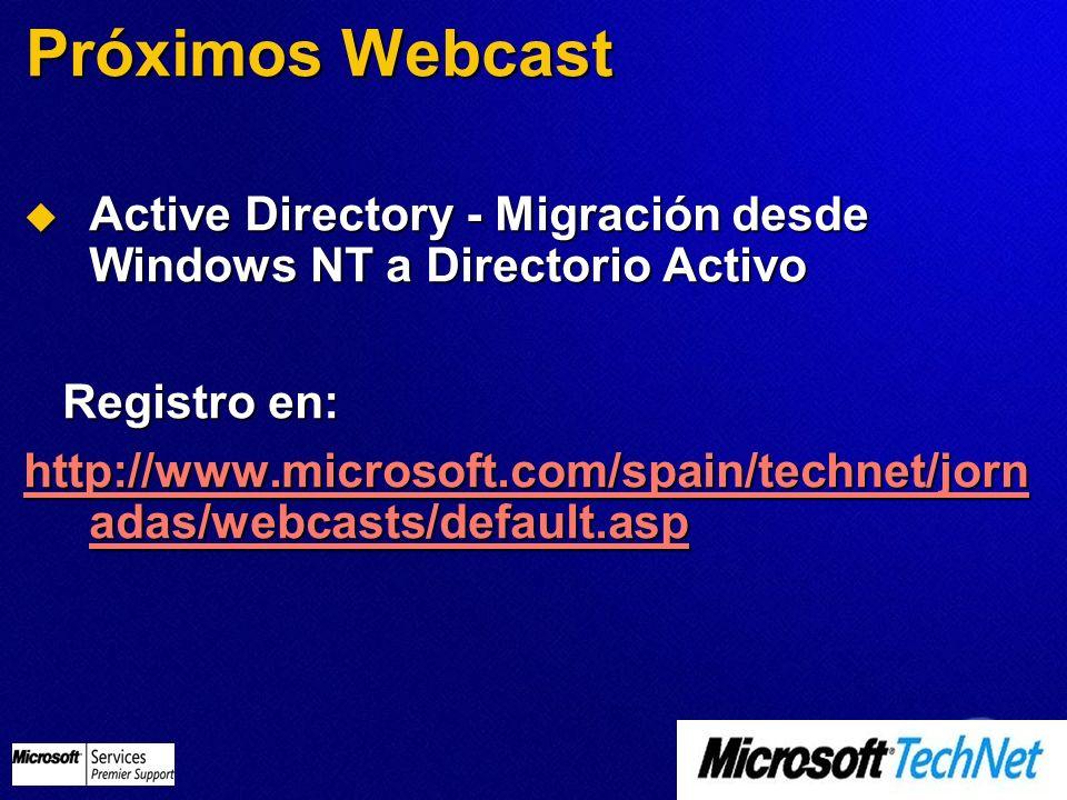Próximos Webcast Active Directory - Migración desde Windows NT a Directorio Activo Active Directory - Migración desde Windows NT a Directorio Activo R