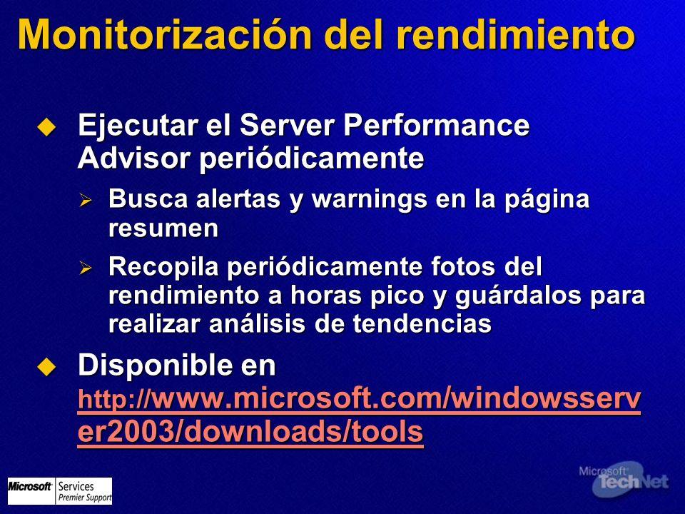 Monitorización del rendimiento Ejecutar el Server Performance Advisor periódicamente Ejecutar el Server Performance Advisor periódicamente Busca alert