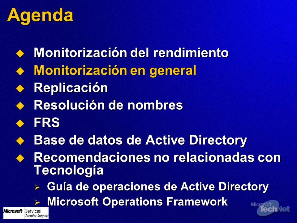Monitorización en general Recopilación de eventos del Visor de sucesos Recopilación de eventos del Visor de sucesos Posibilidad de tener un sistema de monitorización y alertas Posibilidad de tener un sistema de monitorización y alertas P.Ej.: Microsoft® Operations Manager (o Ultrasound o Performance Monitor o scripting…) P.Ej.: Microsoft® Operations Manager (o Ultrasound o Performance Monitor o scripting…) Recopila los eventos de arranque (6005, 6006, 6008 y 6009), y busca el evento 6008 dirty shutdown Recopila los eventos de arranque (6005, 6006, 6008 y 6009), y busca el evento 6008 dirty shutdown 6008 es útil para monitorizar reinicios del servidor debidos a Blue Screens o problemas de hardware 6008 es útil para monitorizar reinicios del servidor debidos a Blue Screens o problemas de hardware Incrementa el tamaño del visor de sucesos a un valor realista (~50Mb por log) Incrementa el tamaño del visor de sucesos a un valor realista (~50Mb por log)