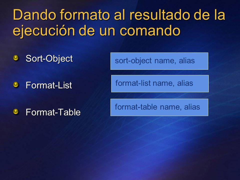 Dando formato al resultado de la ejecución de un comando Sort-Object Format-ListFormat-Table sort-object name, aliasformat-list name, aliasformat-tabl
