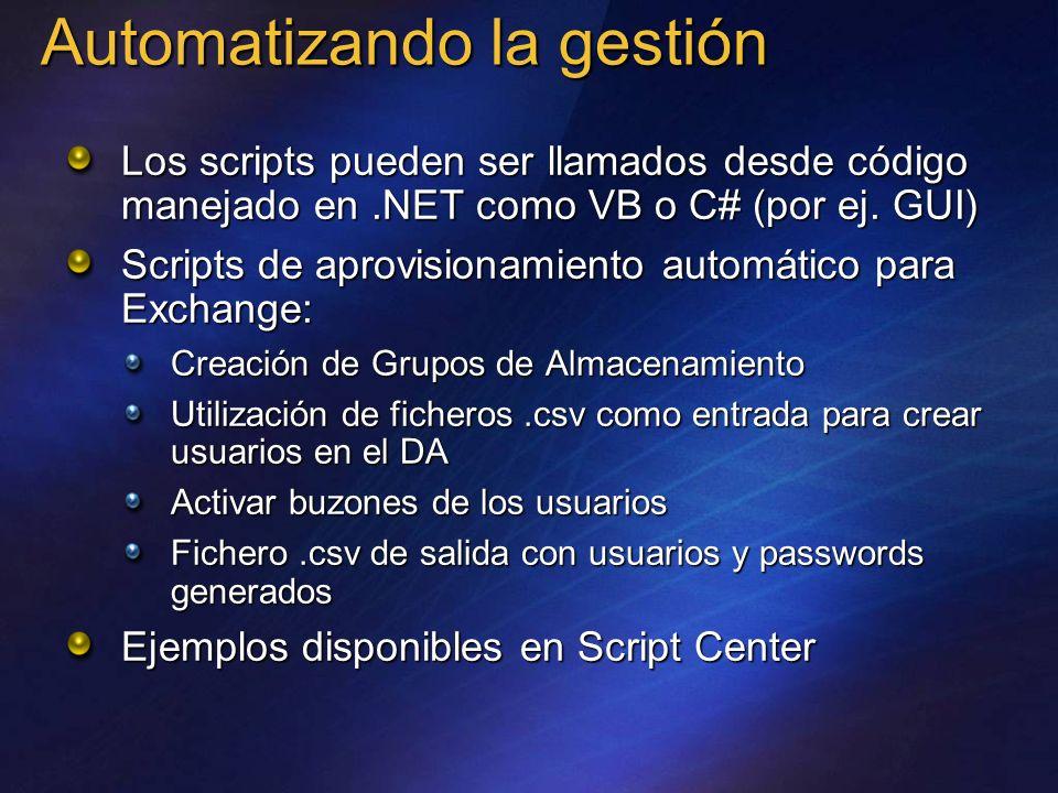 Automatizando la gestión Los scripts pueden ser llamados desde código manejado en.NET como VB o C# (por ej. GUI) Scripts de aprovisionamiento automáti