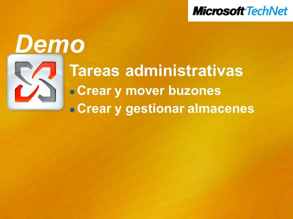Demo Tareas administrativas Crear y mover buzones Crear y gestionar almacenes Demo