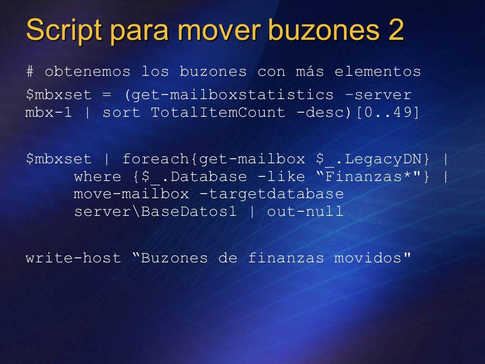 # obtenemos los buzones con más elementos $mbxset = (get-mailboxstatistics –server mbx-1 | sort TotalItemCount -desc)[0..49] $mbxset | foreach{get-mai