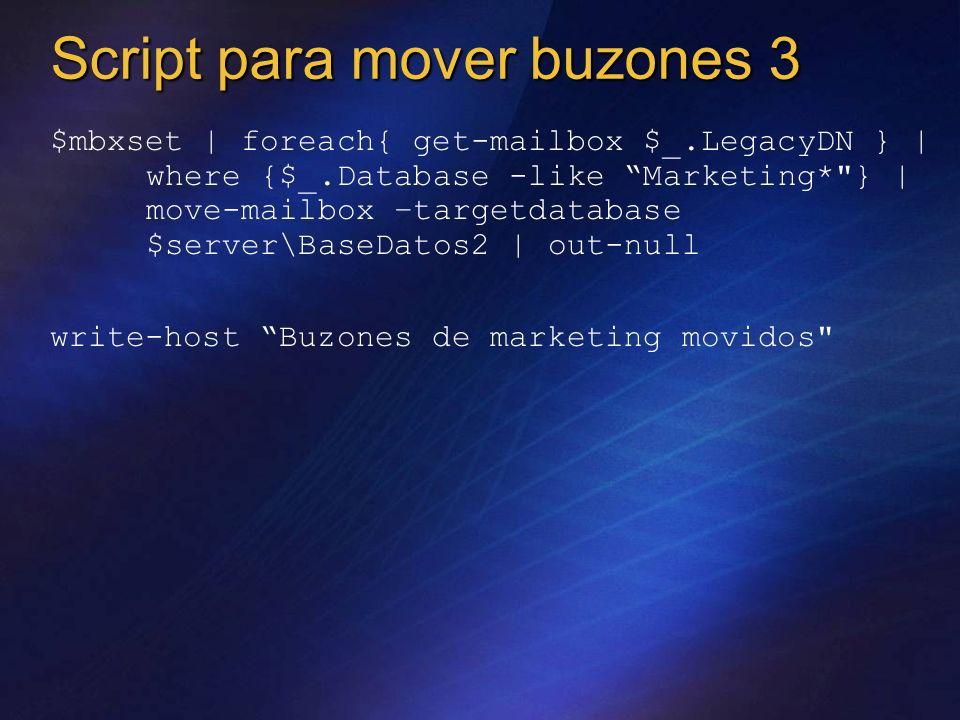 $mbxset | foreach{ get-mailbox $_.LegacyDN } | where {$_.Database -like Marketing*